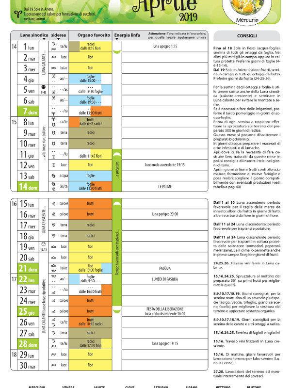 Pagine di esempio calendario semine e lavorazioni 2019 - Edizioni La Biolca