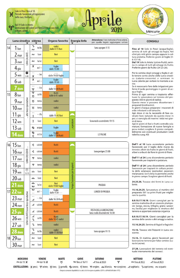 Calendario Di Semina.Calendario Biodinamico 2019