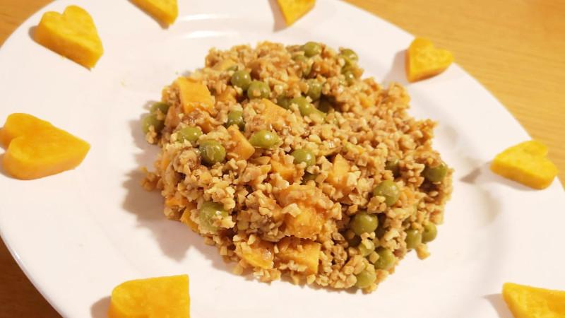 Bulgur di soia con batata rossa e legumi - Biolcalenda di Settembre2019